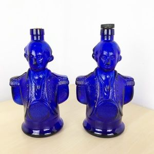 VTG George Washington cobalt blue liquor bottles